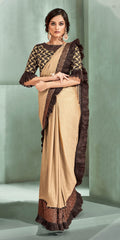 Beige Lycra Party Wear Saree With Brown Blouse
