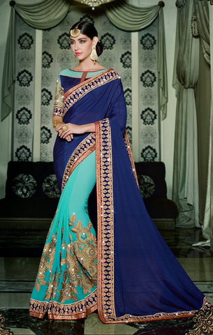 Blue,Chiffon,Party wear heavy saree