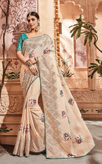 Beige Imported Fabric Party Wear  Saree With Blue Blouse