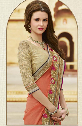 Designer Orange and Beige gerogette saree with raw silk blouse