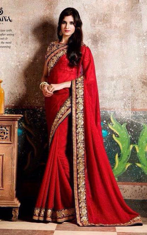 Red,Chiffon,Heavy designer party wear saree