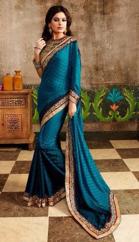Cyan,Dhupion,Heavy designer party wear saree