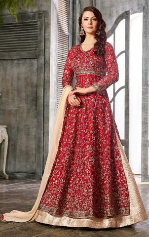 Red Satin Jazi Work Anarkali With Peach Dupatta