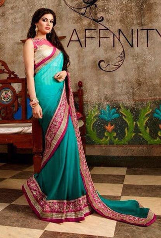Cyan,Net,Heavy designer party wear saree