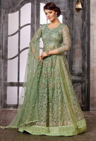 Green Net Jazi Work Anarkali With Green Dupatta