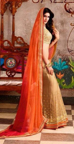Orange , Beige,Georgette,Heavy designer party wear saree