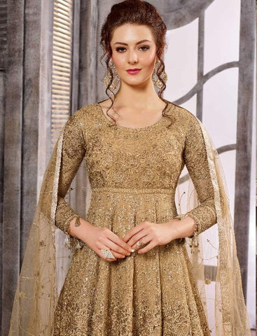 Golden Net Jazi Work Anarkali With Golden Dupatta