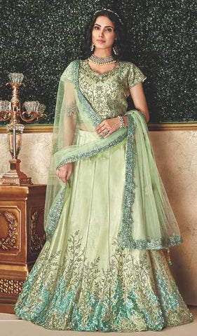 Pastel Green Dual Tone Taffeta Silk Party Wear Lehenga With Pastel Green Choli And Pastel Green Dupatta