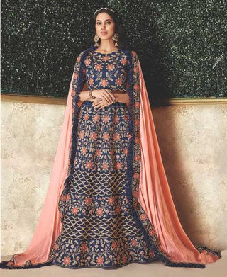 Blue Silk Party Wear Lehenga With Blue Choli And Peach Dupatta