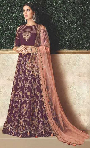 Wine Silk Party Wear Lehenga With Winw Choli And Peach Dupatta
