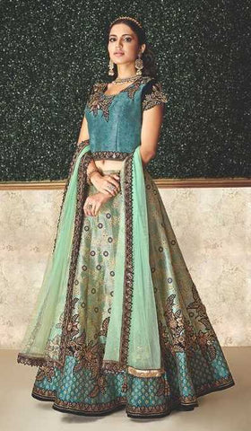Blue Jacquard Silk Party Wear Lehenga With Dark Blue Choli And Blue Dupatta