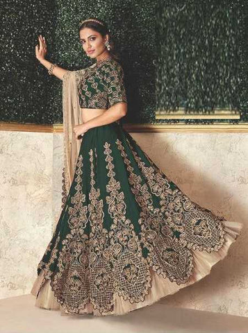 Green Satin Silk Party Wear Lehenga With Green Choli And Beige Dupatta