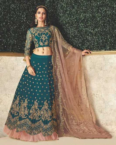 Teal Blue Satin Silk Party Wear Lehenga With Teal Blue Choli And Pink Dupatta