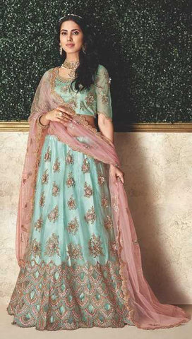 Sky Blue Taffeta Silk Party Wear Lehenga With Sky Blue Choli And Pink Dupatta