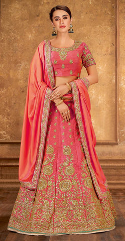 Orange Raw Silk Party Wear Lehenga With Orange Choli And Orange Dupatta