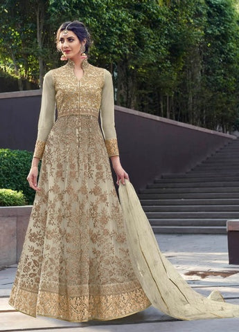 Beige Net Party Wear Anarkali Suit With Beige Dupatta