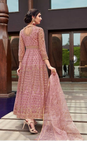 Pink Net Party Wear Anarkali Suit With Pink Dupatta