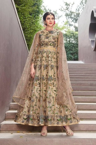 Golden Net Party Wear Anarkali Suit With Golden Dupatta