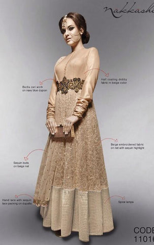 Beige,Net,Designer long anarkali suits with heavy work embroidery