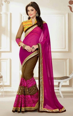 Saree Pink , Brown,Half georgette , Half net