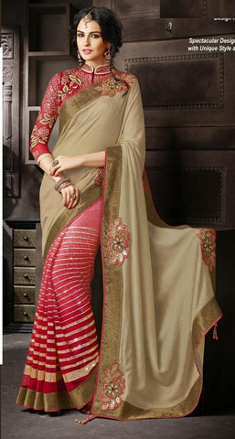 Red , Beige,Net , satin,Heavy embrodiery designer saree with designer blouse