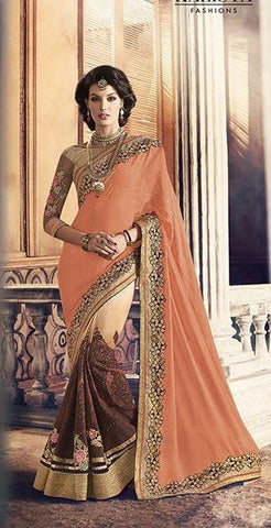 Peach , Beige,Georgette,Heavy party werar designer saree