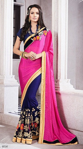 Navy,Georgette,Jacquard,Party wear designer heavy saree