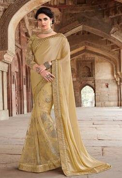 Beige,Brasso,Heavy designer party wear saree