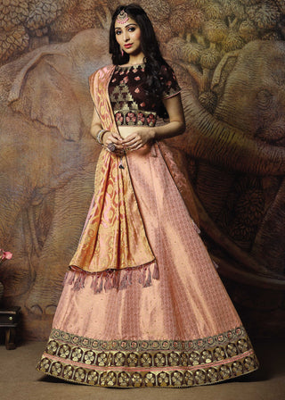 Pink Silk Party Wear Lehenga With Brown Choli
