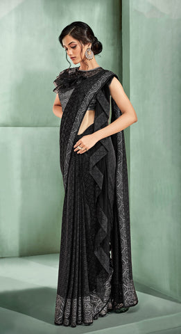 Black Lycra Party Wear Saree With Silver Blouse