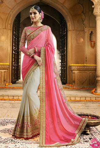 Pink & White Georgette Saree With Pink Blouse
