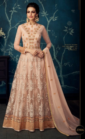 Peach Jacquard Party Wear Anarkali Dress With Peach Dupatta