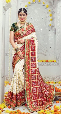 Cream , Red,Banaras silk,heavy designer party wear saree