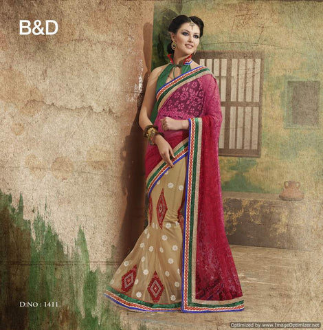 Red Brasso Net Saree with hand work and Embroidery