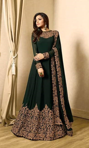 Green Georgette Embroidered Abaya Style Anarkali Dress With Duptta