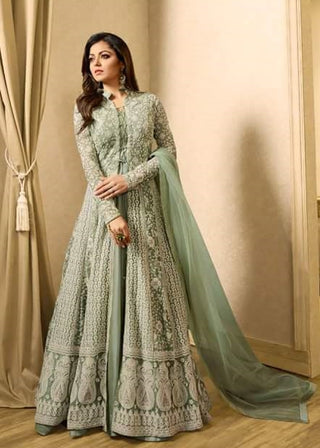 Green Net Gown  Abaya Style Anarkali Suit