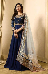 Blue Georgette Gown Style Abaya Style With Heavy Bordered Dupatta