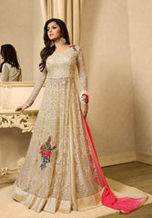 Cream Net Abaya Style Gown Anarkali With Dupatta