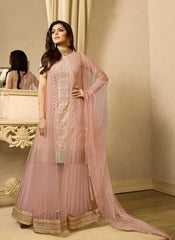 Cream Net Abaya Style Gown Style Anarkali With Dupatta