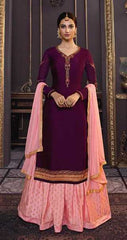 Wine Georgette Party Wear Salwar Suit With  Dupatta