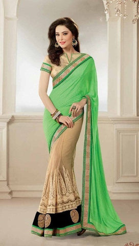 Saree Green , beige,Half Georgette , half Net