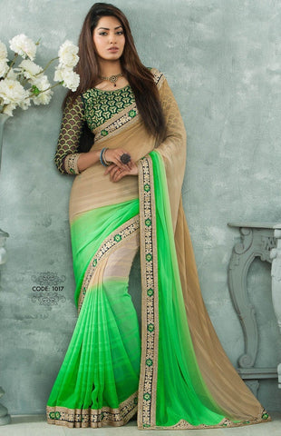 Saree Green and beige,Georgette