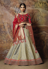 Grey Silk Party Wear Lehenga With Red Choli