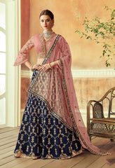 Blue Taffeta Silk Party Wear Lehenga With Pink Dupatta