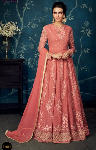 Red Jacquard Party Wear Anarkali Dress With Red Dupatta