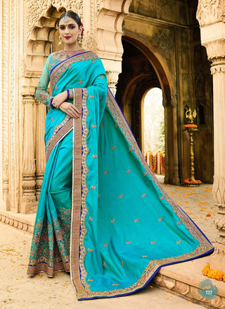 Aqua Blue Georgette Saree With Aqua Blue Blouse