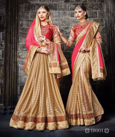 Pink , Golden,Georgette , Net,Heavy designer saree