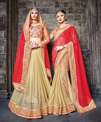 Red , Beige,Georgette , Net,Heavy designer saree