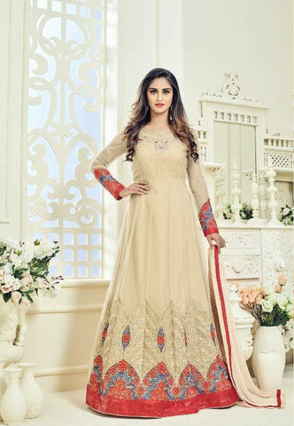 Peach Beige Combo Net Abaya Style Anarklai Suit With Dupatta