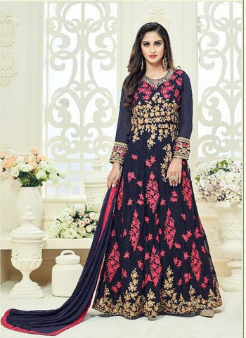 Blue Georgette Embroiderd Abaya Style Anarkali With Dupatta